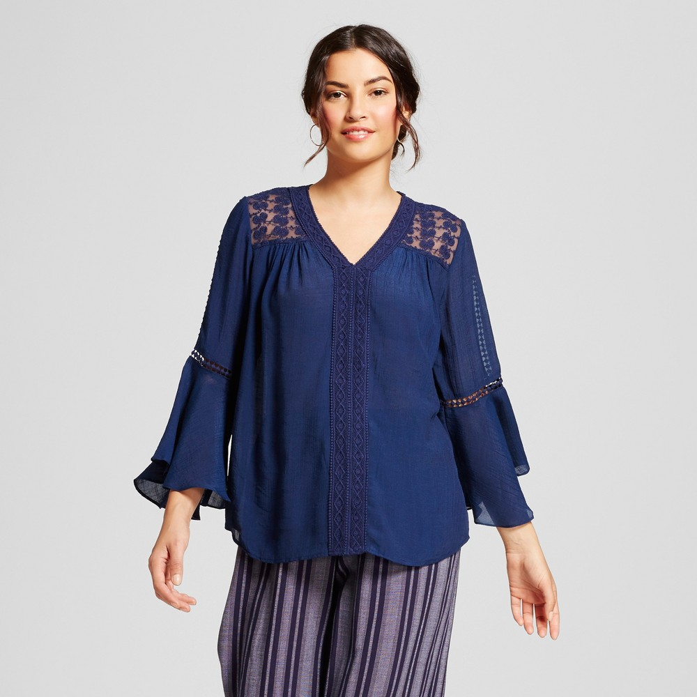 Womens Lace and Crochet Peasant Blouse - JohnPaulRichard - Navy S, Blue