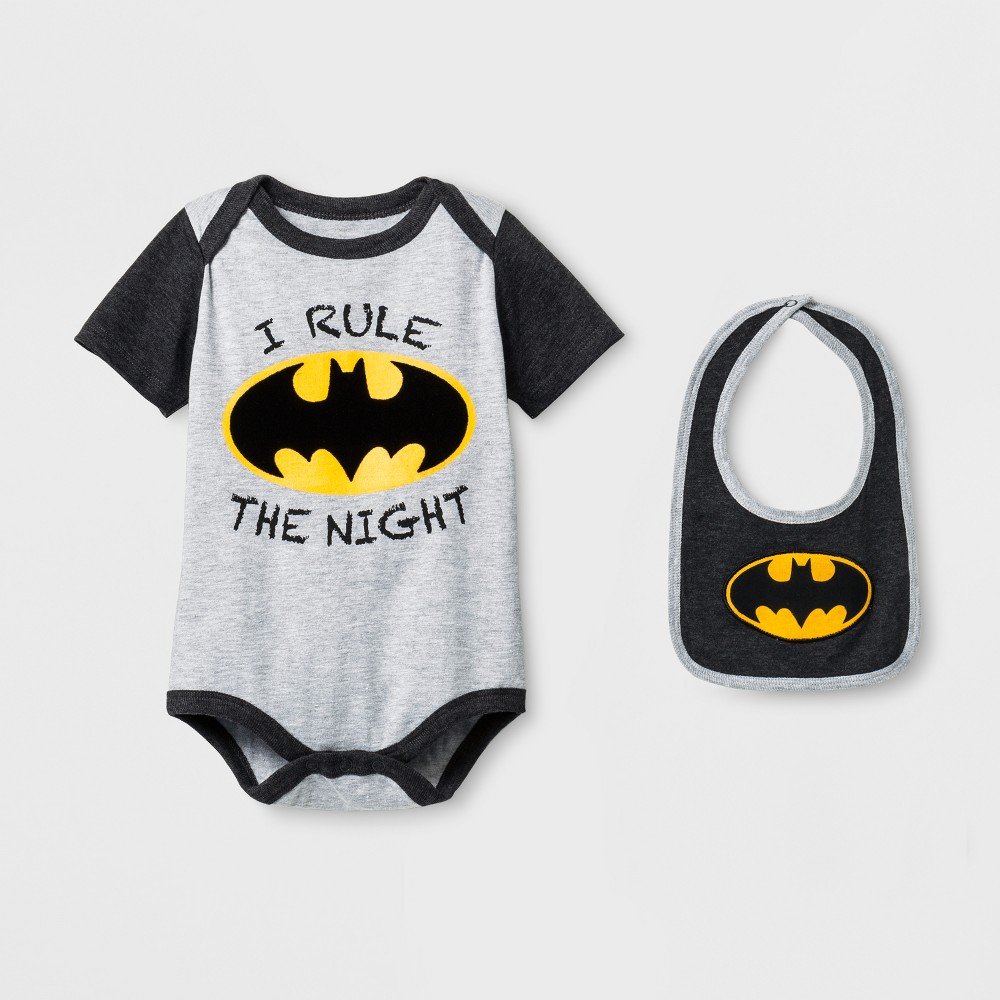 Baby Boys Batman Bodysuit with Bib Charcoal - Warner Bros. 3-6 M, Gray