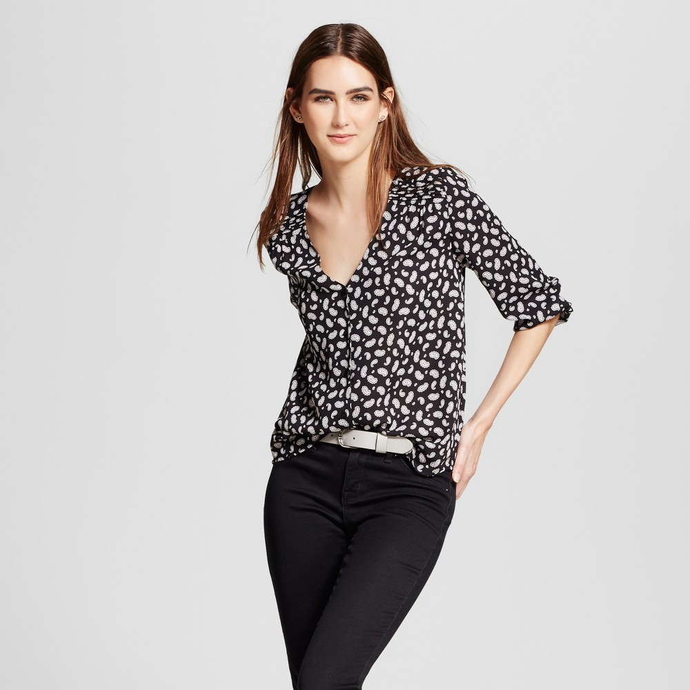 Womens 3/4 Sleeve Button Front Top - Eclair Black Multi S