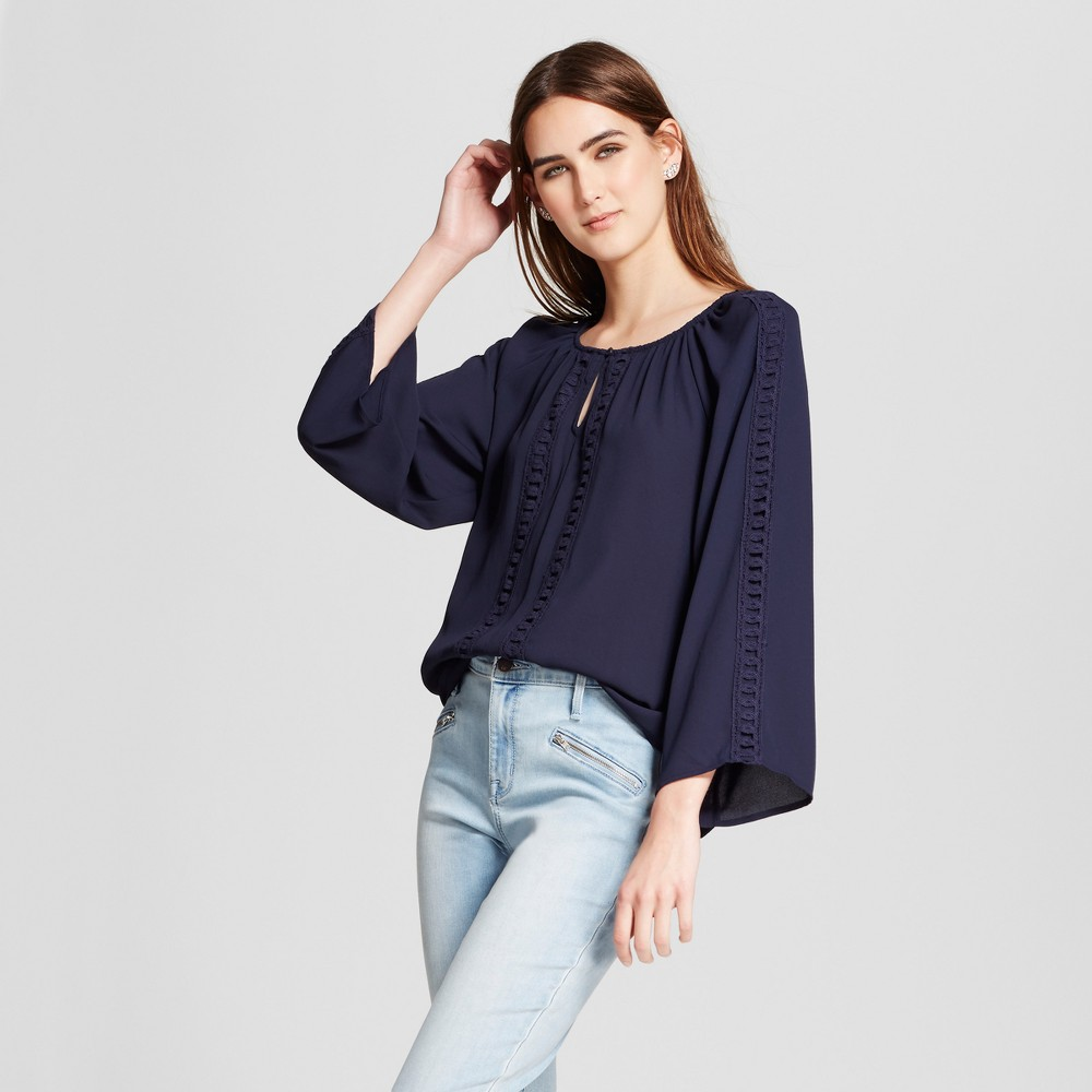 Womens Crochet Detail Keyhole Blouse - Eclair Navy/White L, Blue