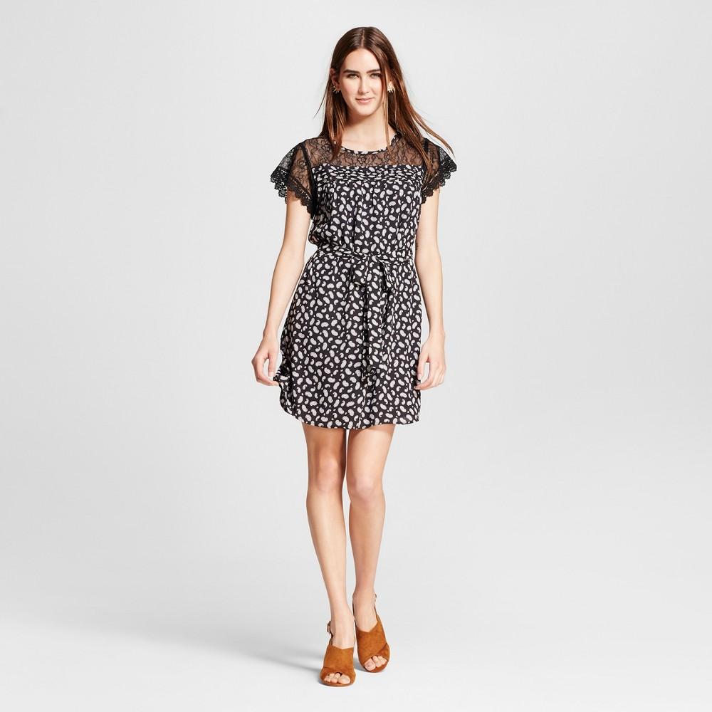 Womens Lace Sleeve Printed Tie Waist Dress - Eclair Black Multi S
