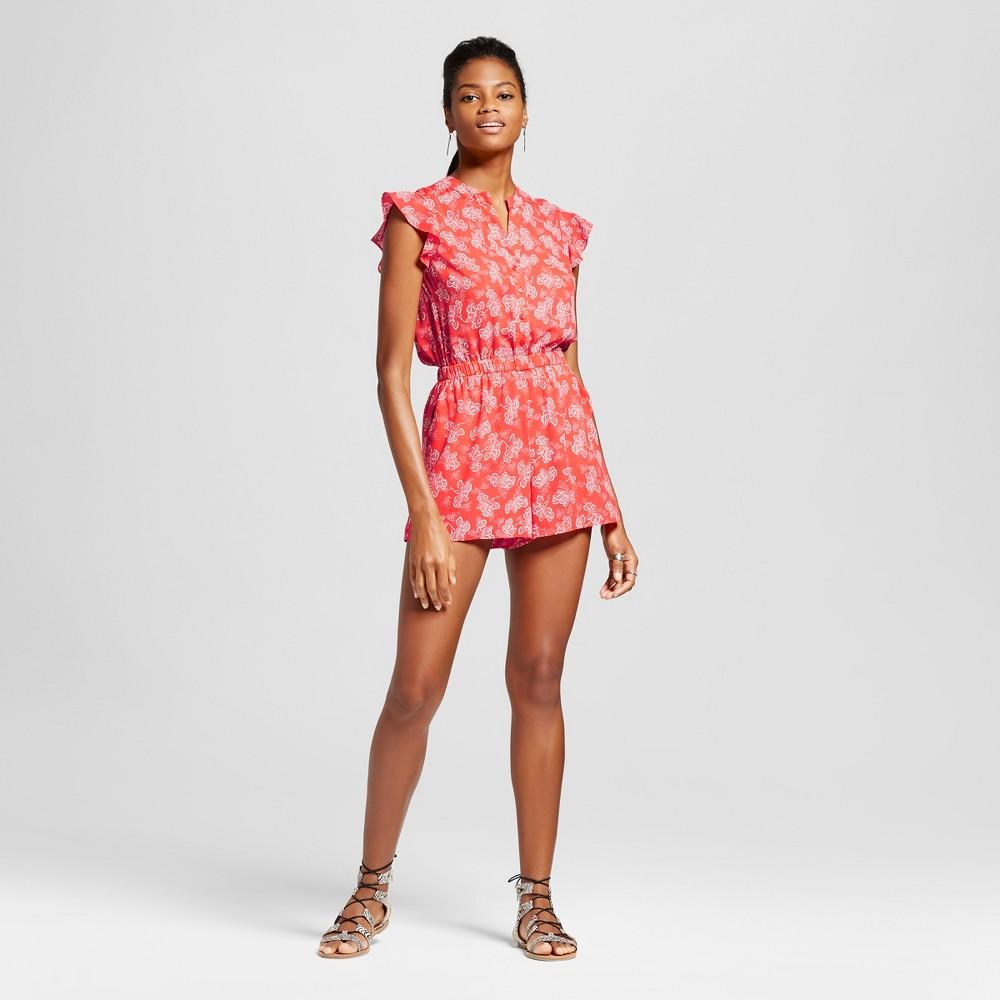 Womens Printed Ruffle Sleeve Romper - Eclair Coral Multi S, Pink
