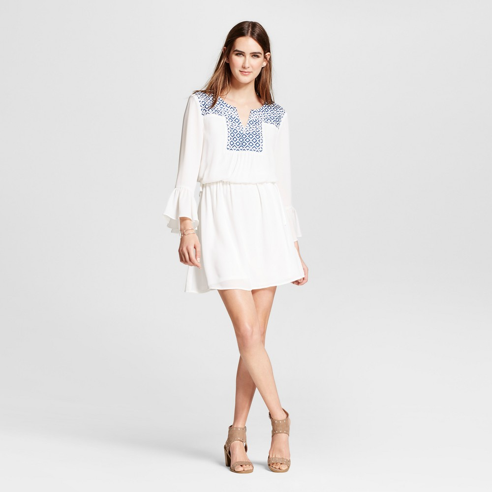 Womens Embroidered Ruffle Sleeve Dress - Éclair White M