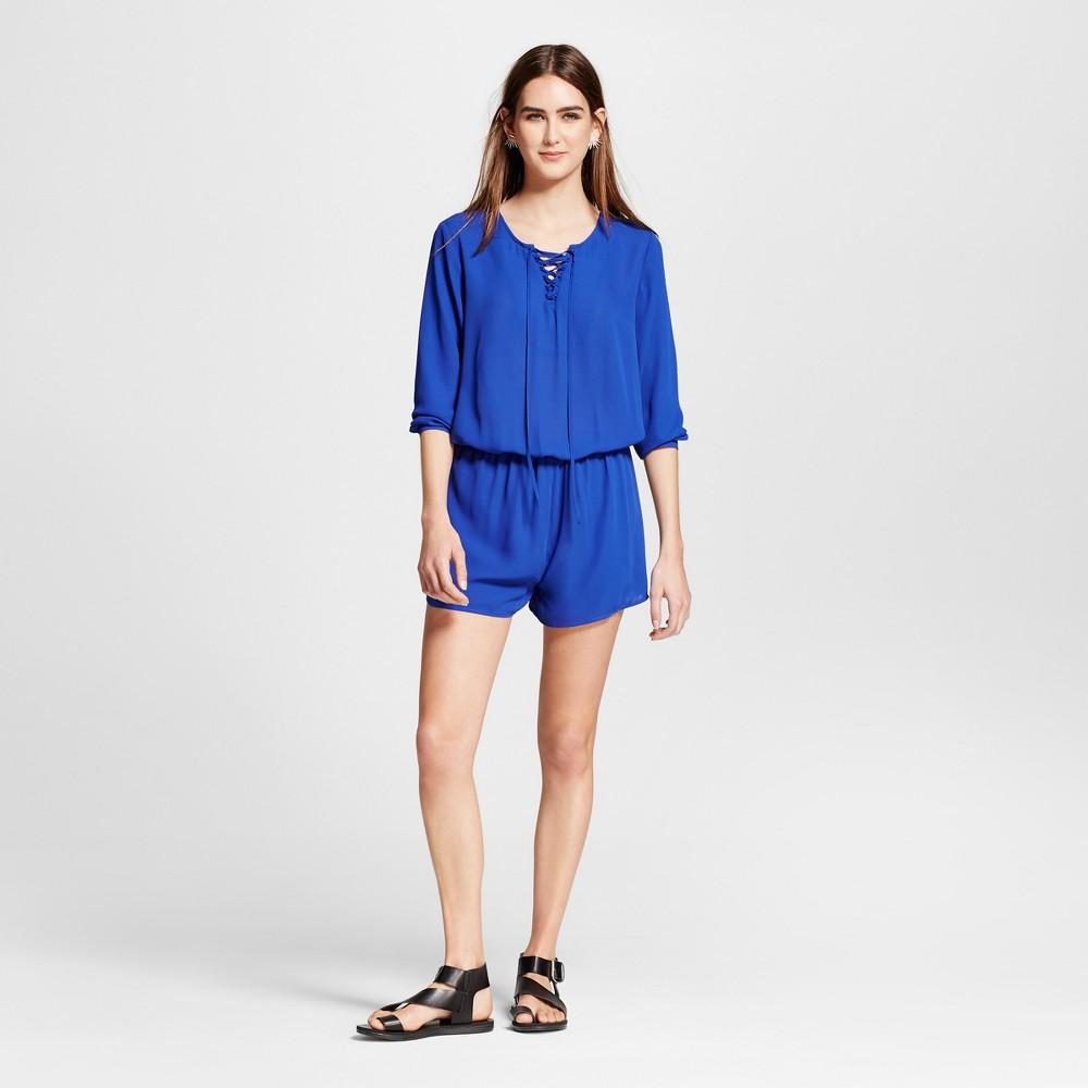 Womens Long Sleeve Lace Up Romper - Eclair Cobalt XL, Blue