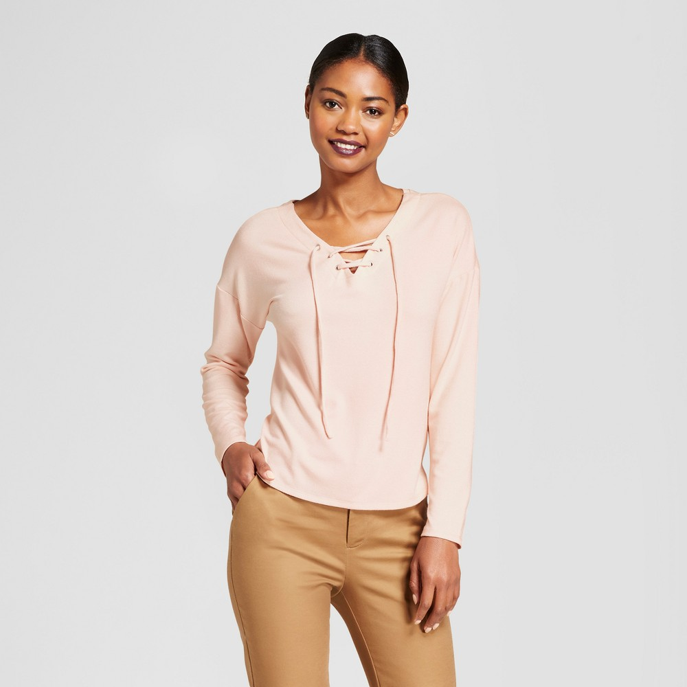 Womens Long Sleeve Lace Up Top - A New Day Peach (Pink) Xxl