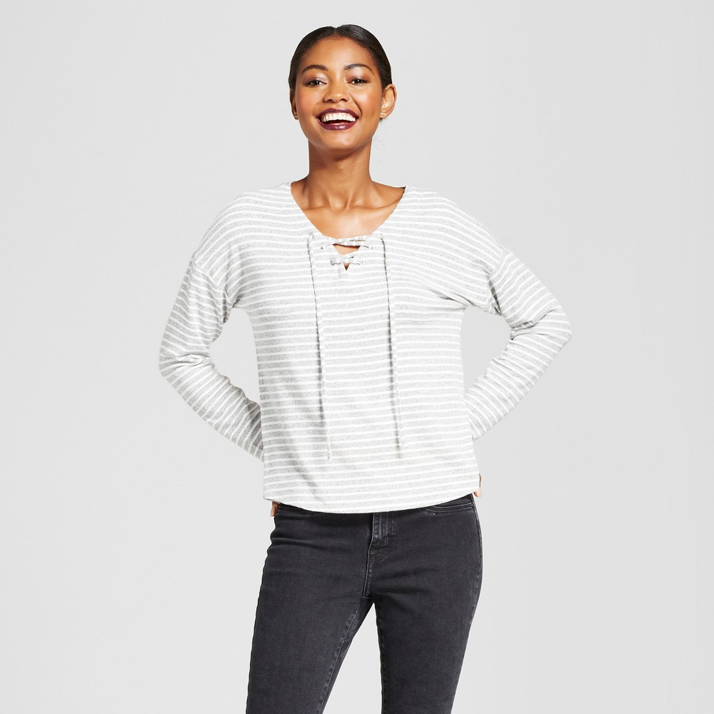 Womens Striped Long Sleeve Lace Up Top - A New Day Gray M
