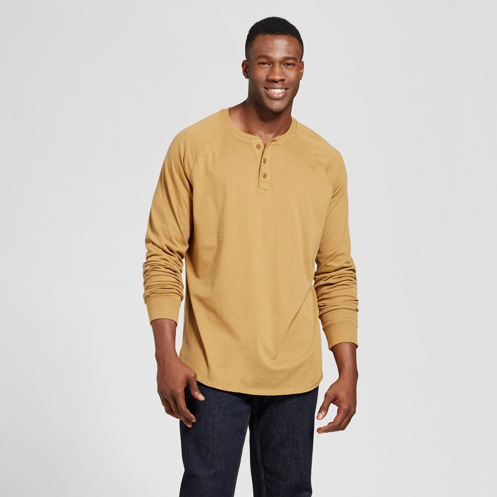 Mens Big & Tall Standard Fit Long Sleeve Henley T-Shirt - Goodfellow & Co Light Brown 2XBT
