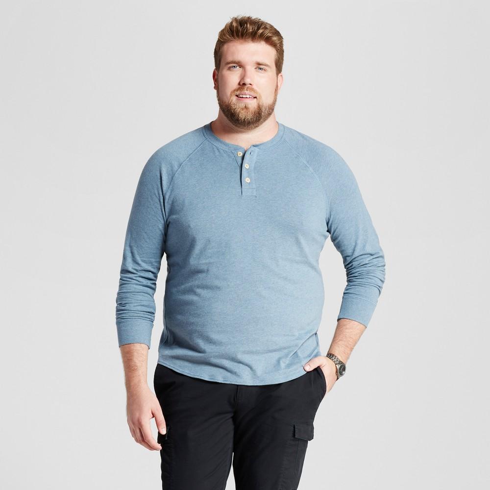 Mens Big & Tall Standard Fit Long Sleeve Henley T-Shirt - Goodfellow & Co Slate Blue 5XB