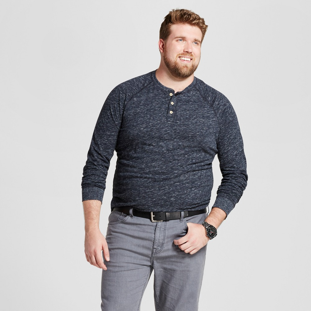 Mens Big & Tall Standard Fit Long Sleeve Henley T-Shirt - Goodfellow & Co Charcoal (Grey) 3XBT