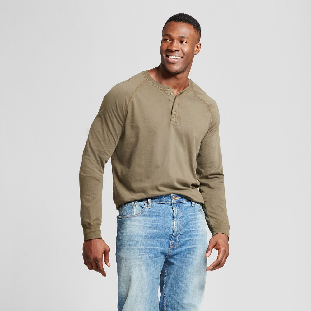 Mens Big & Tall Standard Fit Long Sleeve Henley T-Shirt - Goodfellow & Co Olive (Green) 3XB