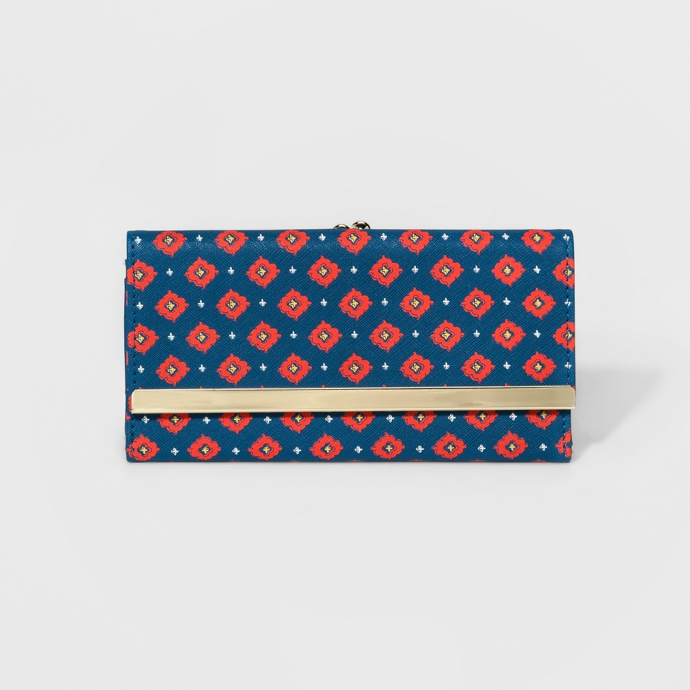 Womens Tri-Fold Wallet with Kisslock Coin Purse - A New Day Navy/Red (Blue/Red) Tile