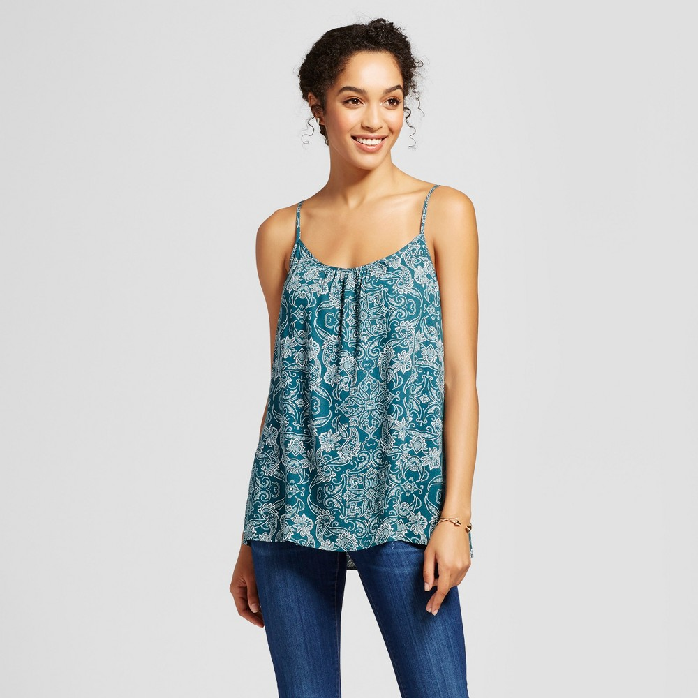 Womens Printed Woven Cami - Merona Hedge Green S, Blue