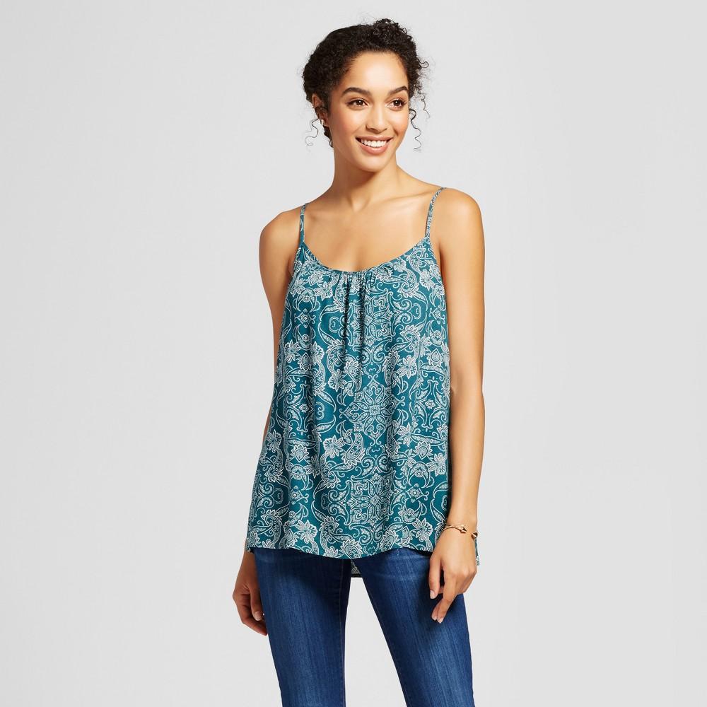 Womens Printed Woven Cami - Merona Hedge Green M, Blue