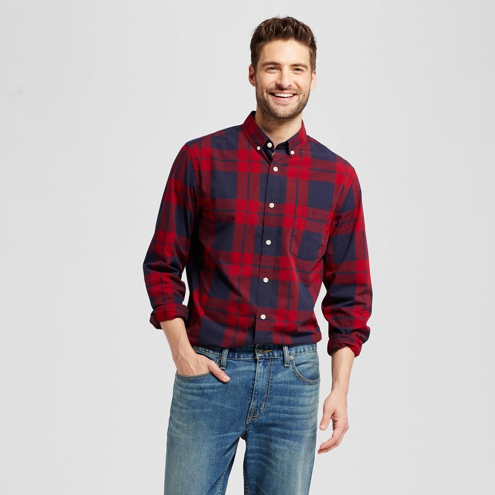 Mens Standard Fit Northrop Poplin Button Down Shirt - Goodfellow & Co Red/Navy Plaid Xxl