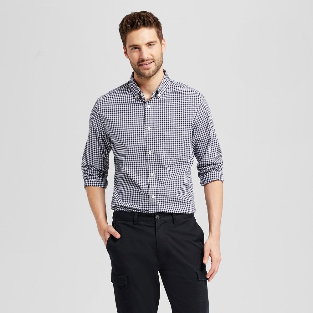 Mens Standard Fit Northrop Poplin Button Down Shirt - Goodfellow & Co Navy/White Plaid (Blue/White Plaid) Xxl