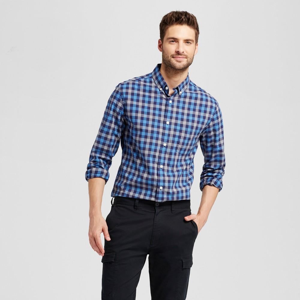 Mens Standard Fit Northrop Poplin Button Down Shirt - Goodfellow & Co Blue/Charcoal Plaid S