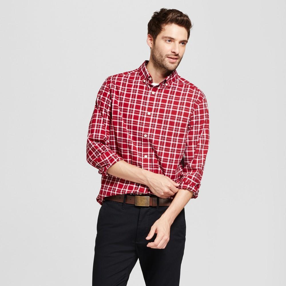 Mens Standard Fit Northrop Poplin Button Down Shirt - Goodfellow & Co Red/White Plaid M