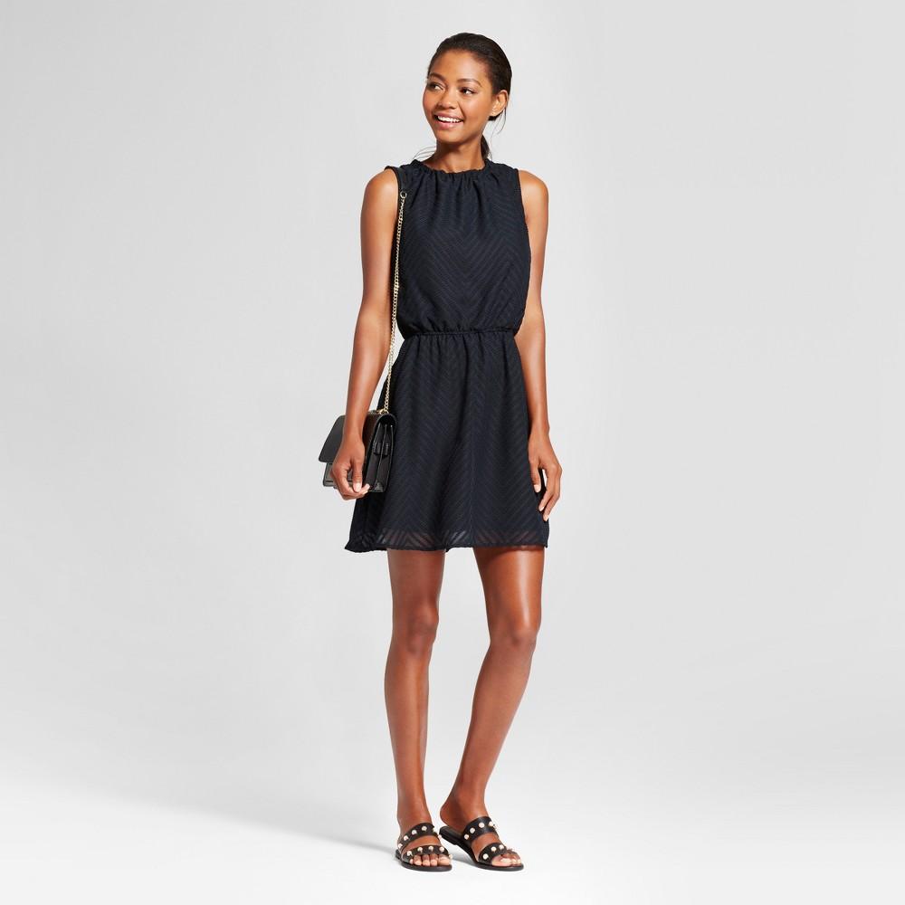 Womens Textured Chevron Dress - A New Day Black L