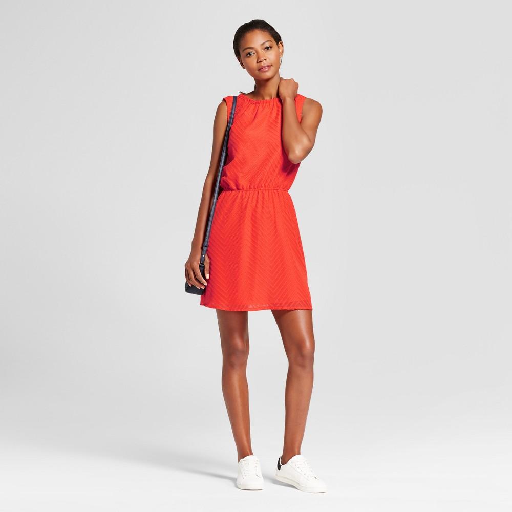 Womens Textured Chevron Dress - A New Day Tomato (Red) Xxl