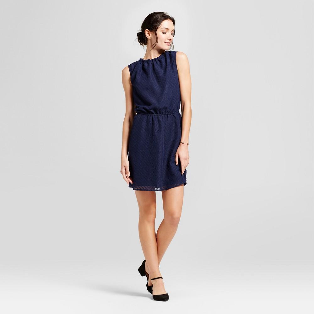 Womens Textured Chevron Dress - A New Day Navy (Blue) XL