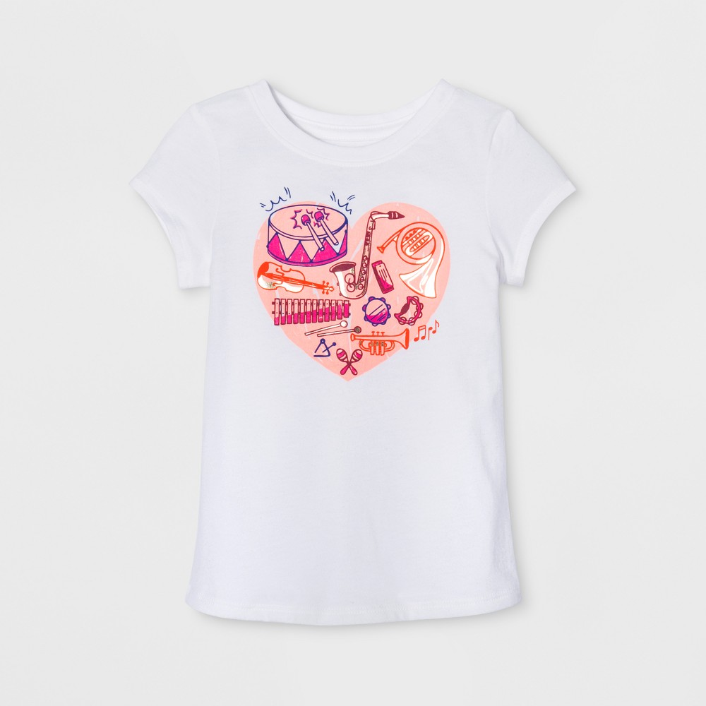 Toddler Girls' Cap Sleeve Graphic T-Shirt - Cat & Jack White 2T