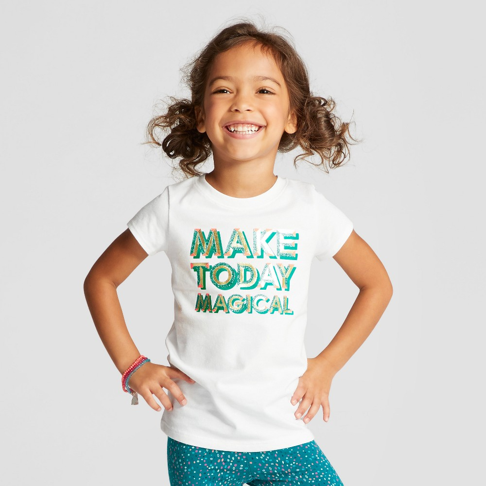 Toddler Girls Cap Sleeve Graphic T-Shirt - Cat & Jack White 2T