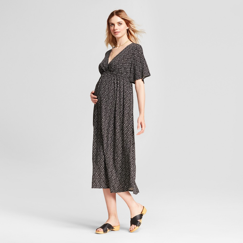 Maternity Printed Wrap Maxi Dress - Isabel Maternity by Ingrid & Isabel Black L, Infant Girls