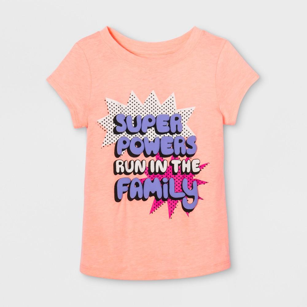 Toddler Girls Cap Sleeve Graphic T-Shirt - Cat & Jack Moxie Peach 18 M, Orange