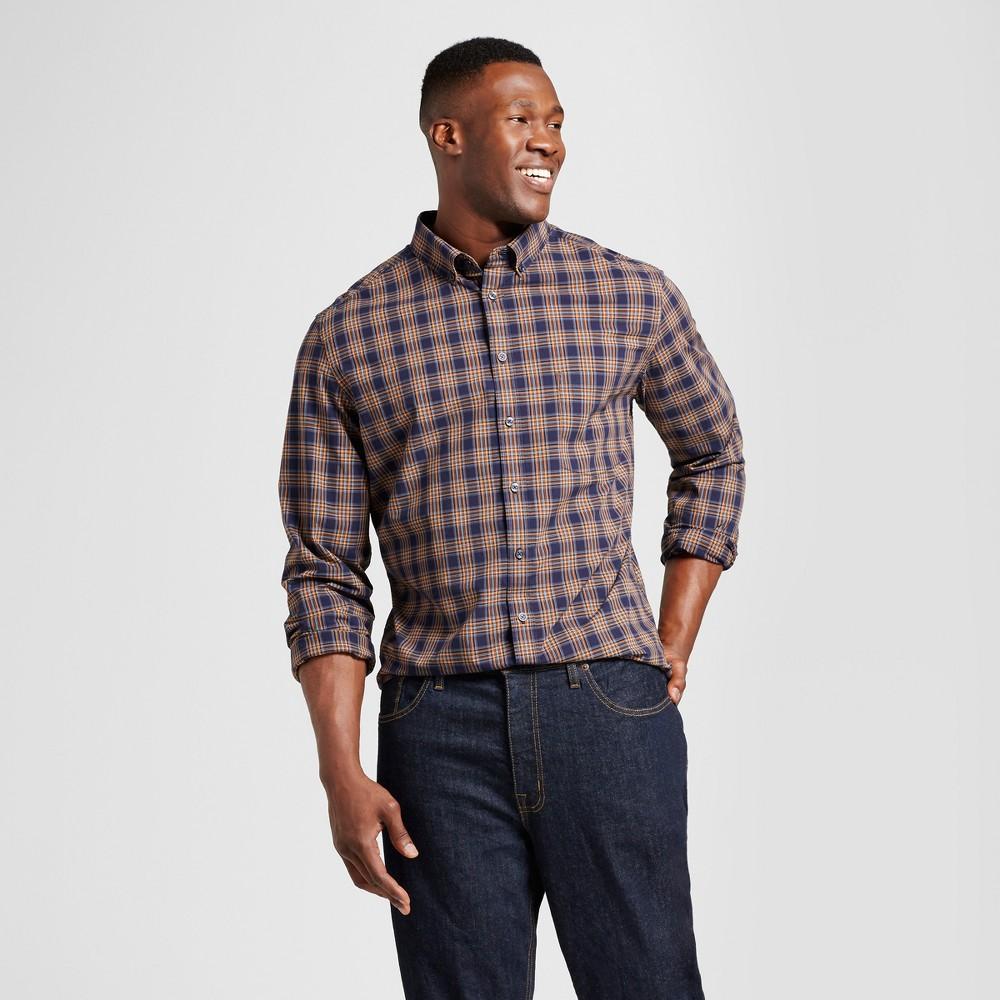 Mens Big & Tall Standard Fit Northrop Poplin Button Down Shirt - Goodfellow & Co Navy/Gold Plaid (Blue/Gold Plaid) 3XBT