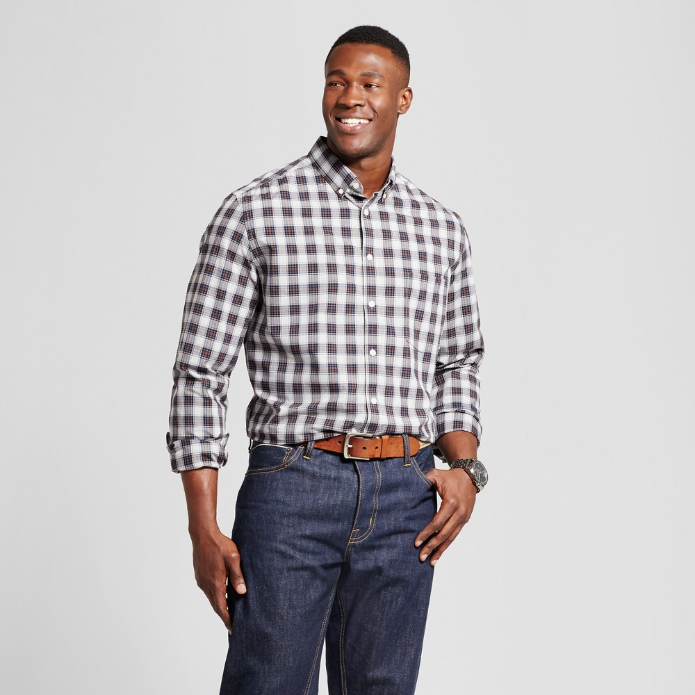 Mens Big & Tall Standard Fit Northrop Poplin Button Down Shirt - Goodfellow & Co Blue/Gray Plaid 5XBT
