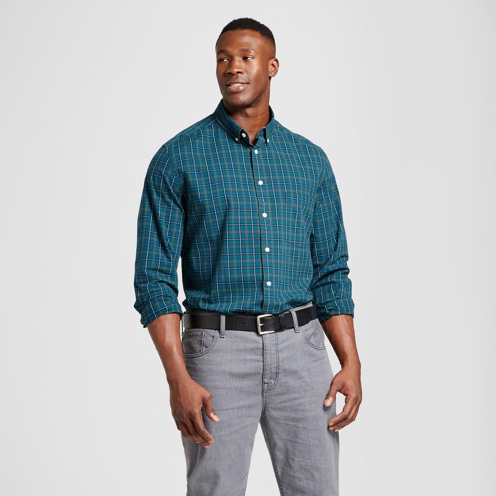 Mens Big & Tall Standard Fit Northrop Poplin Button Down Shirt - Goodfellow & Co Green/Yellow Plaid 5XB