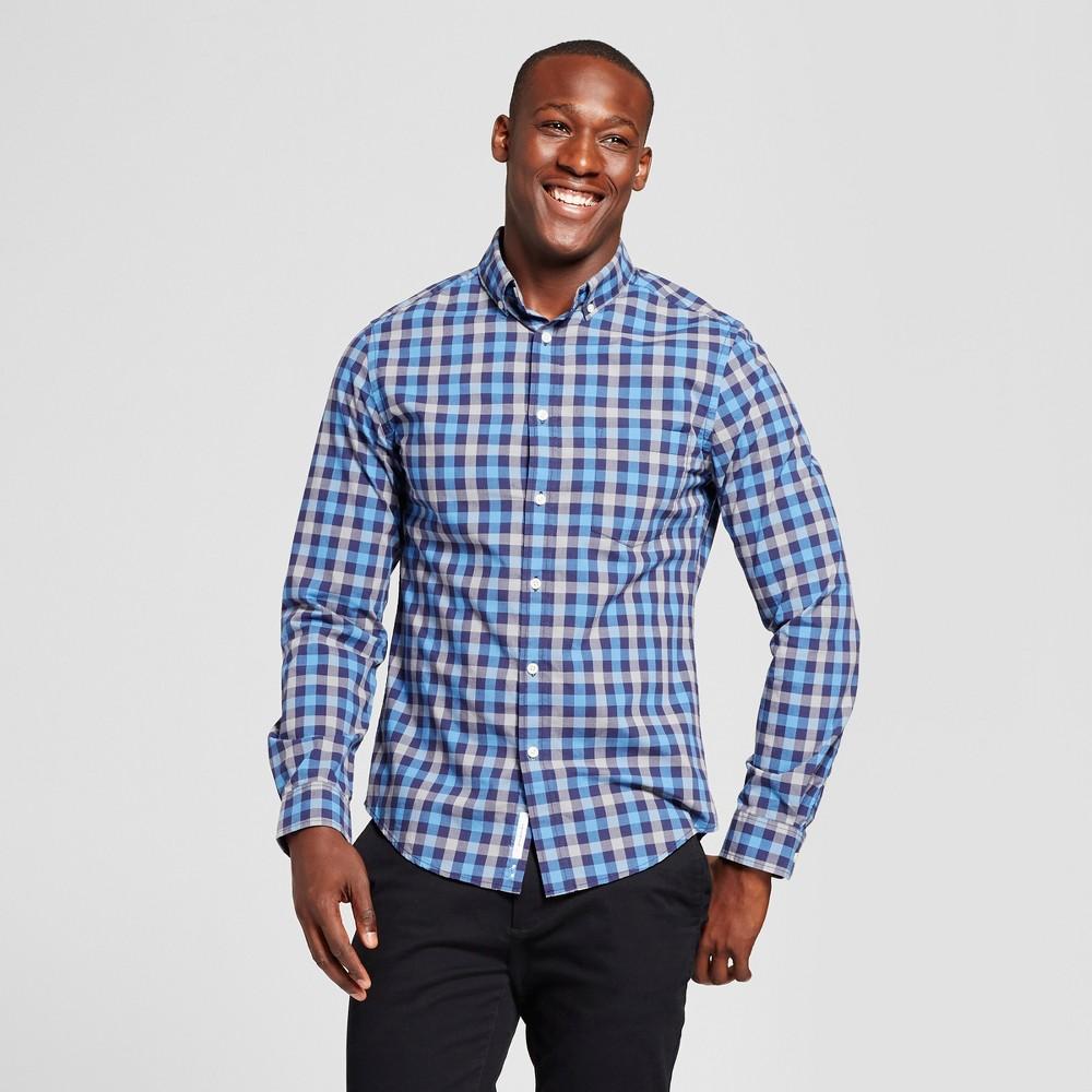 Mens Slim Fit Northrop Poplin Button Down Shirt - Goodfellow & Co Charcoal/Blue Plaid M, Blue/Charcoal Plaid
