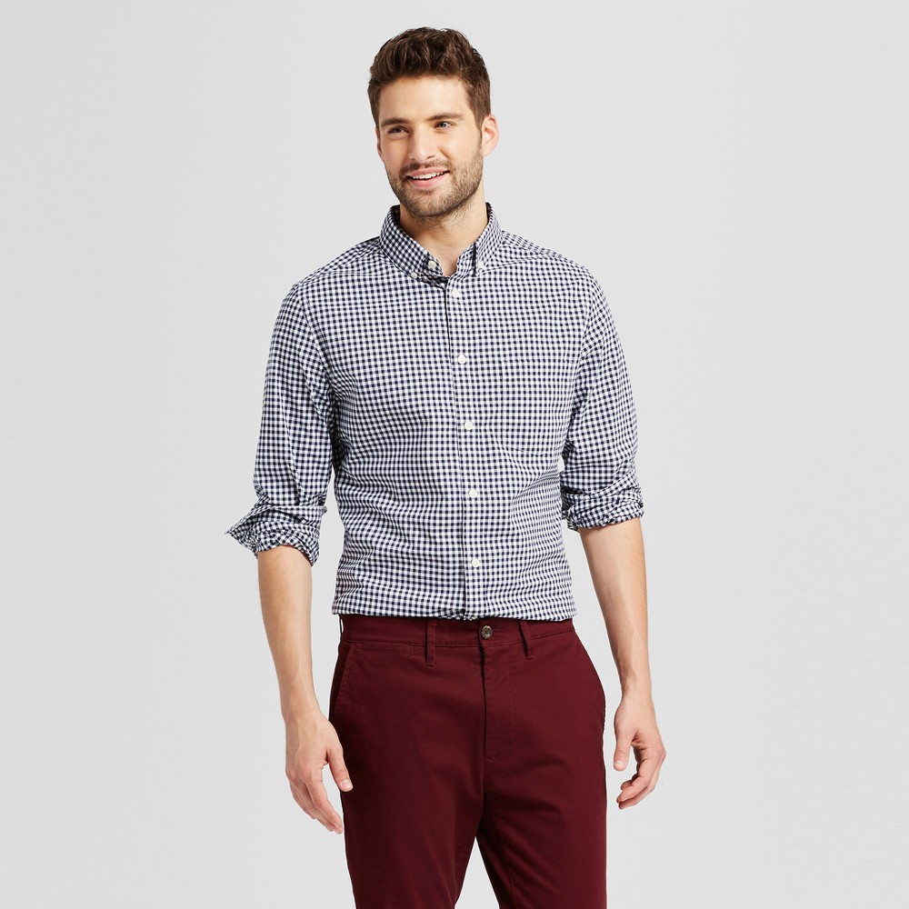 Mens Slim Fit Northrop Poplin Button Down Shirt - Goodfellow & Co Navy/White Plaid (Blue/White Plaid) XL