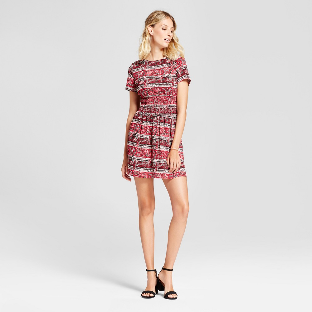 Womens Mixed Print Smocked Waist Fit and Flare Dress - Isani for Target Red/Wine, Size: XL