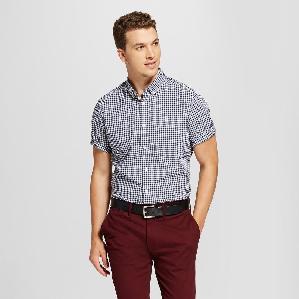 Mens Slim Fit Short Sleeve Soft-Wash Button Down Shirt - Goodfellow & Co White/Blue XL