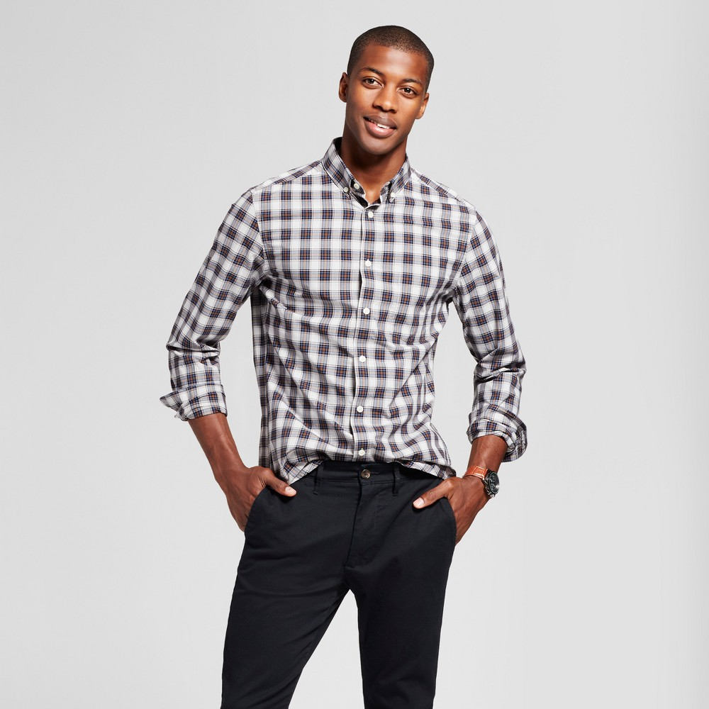 Mens Slim Fit Northrop Poplin Button Down Shirt - Goodfellow & Co Gray/Blue Plaid S, Blue/Gray Plaid