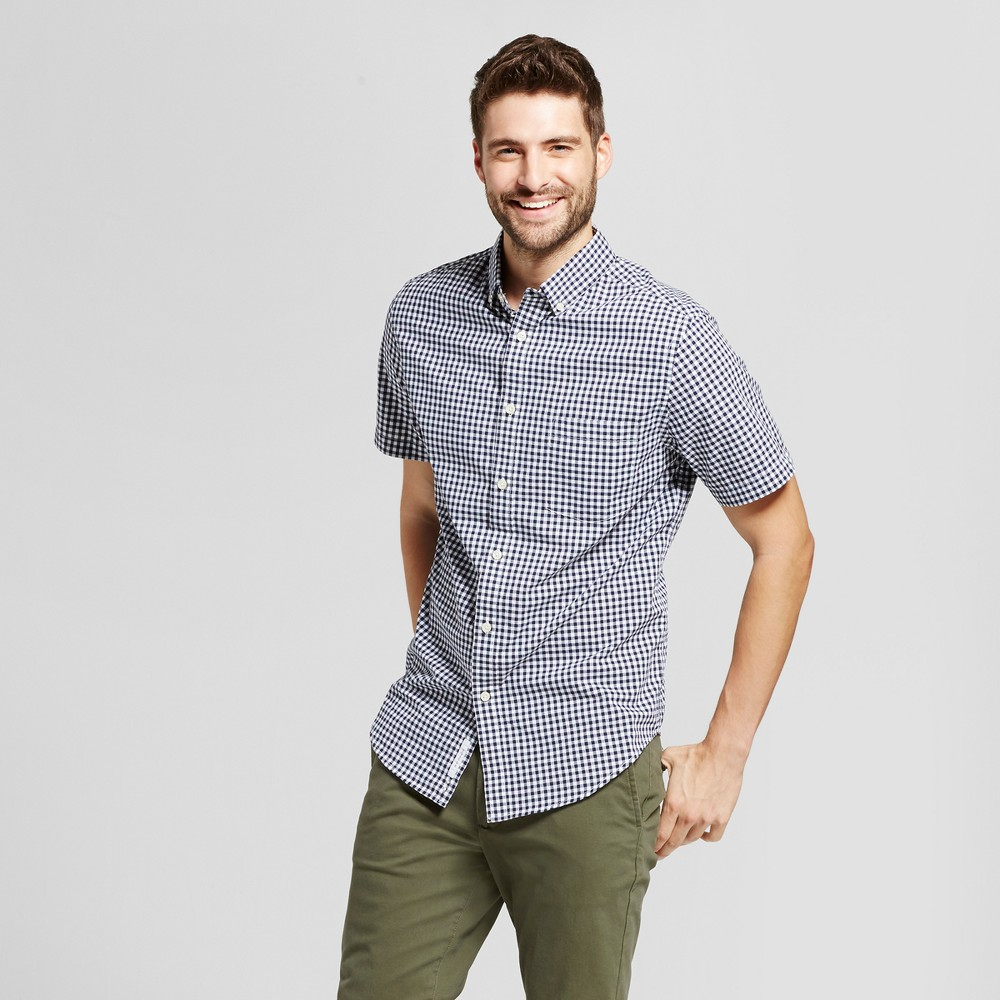 Mens Standard Fit Short Sleeve Button Down Shirt - Goodfellow & Co White-Blue Xxl, White/Blue