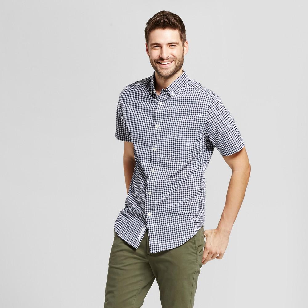 Mens Standard Fit Short Sleeve Button Down Shirt - Goodfellow & Co White-Blue S, White/Blue