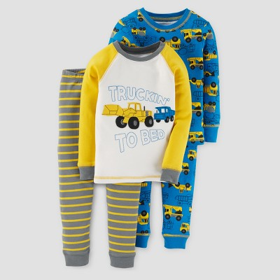 Baby Boys' 4pc Long Sleeve Truckin To Bed Pajama Set - Just One You™ Made by Carter's® Yellow 9M