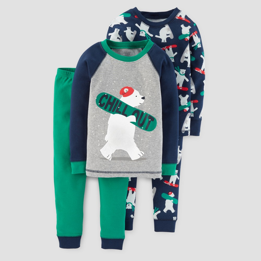 Toddler Boys 4pc Long Sleeve Snowboarding Bears Pajama Set - Just One You Made by Carters Blue 4T
