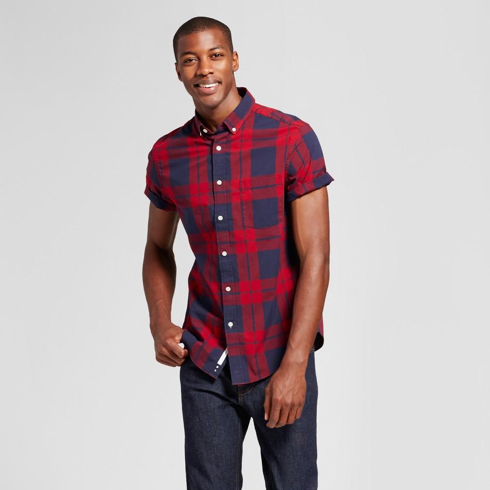 Mens Standard Fit Short Sleeve Button Down Shirt - Goodfellow & Co Red/Blue Plaid M