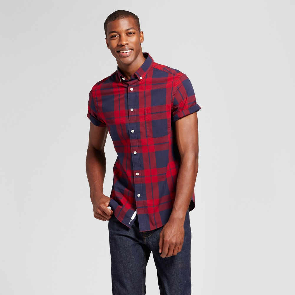 Mens Standard Fit Short Sleeve Button Down Shirt - Goodfellow & Co Red/Blue Plaid S