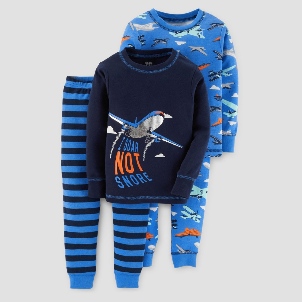 Toddler Boys 4pc Long Sleeve Airplanes Pajama Set - Just One You Made by Carters Navy 2T, Blue