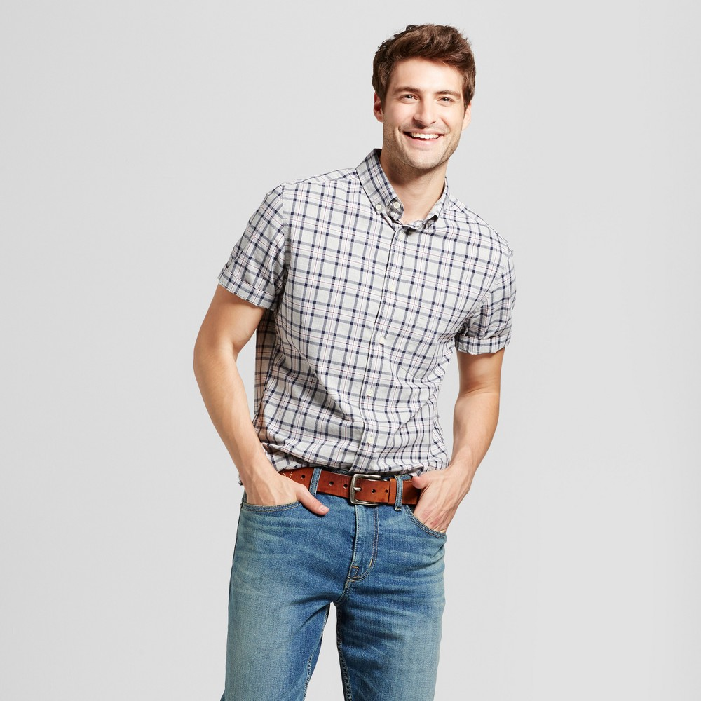 Mens Slim Fit Short Sleeve Shirt - Goodfellow & Co Gray/Red Plaid L