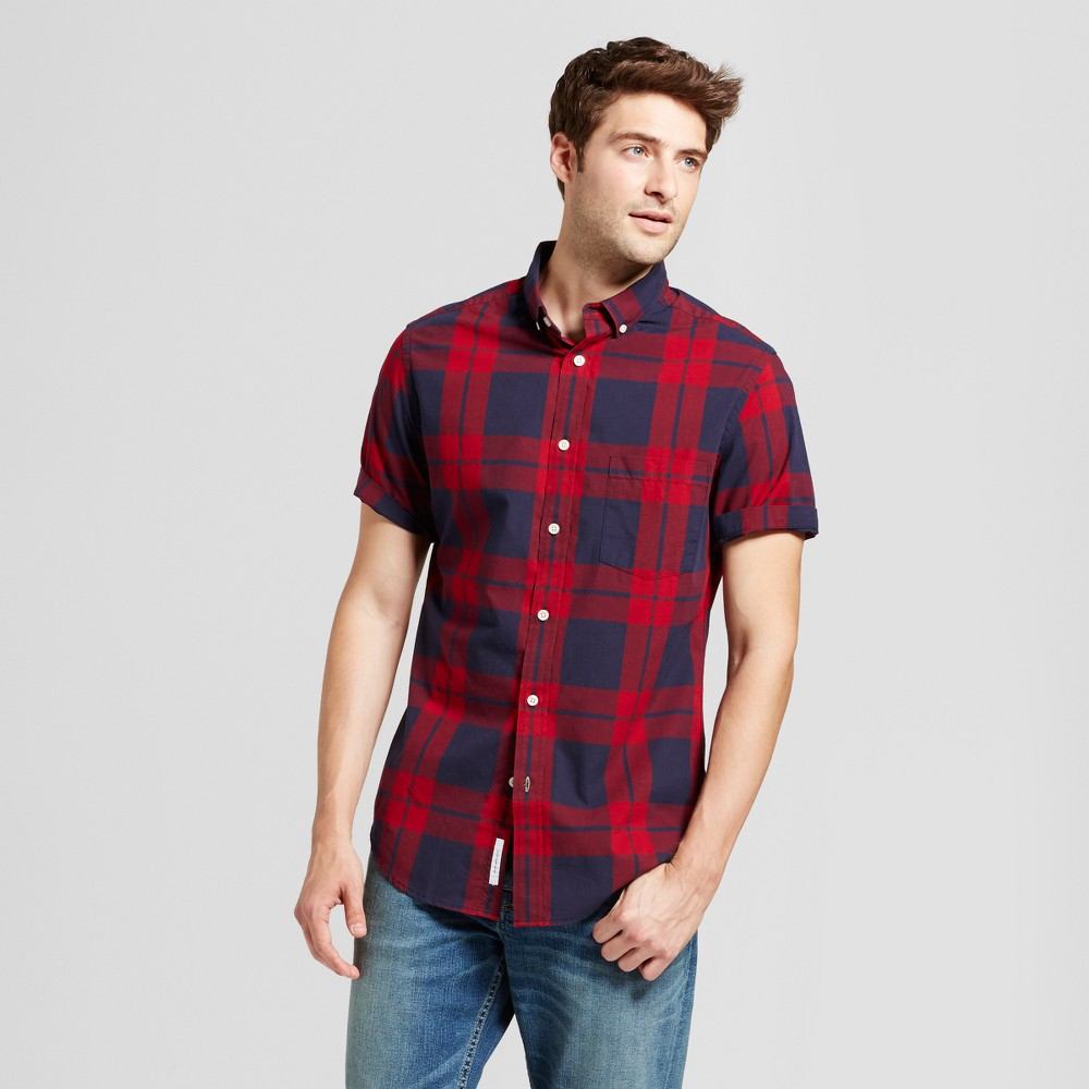 Mens Slim Fit Short Sleeve Shirt - Goodfellow & Co Red/Blue L, Red/Blue Plaid
