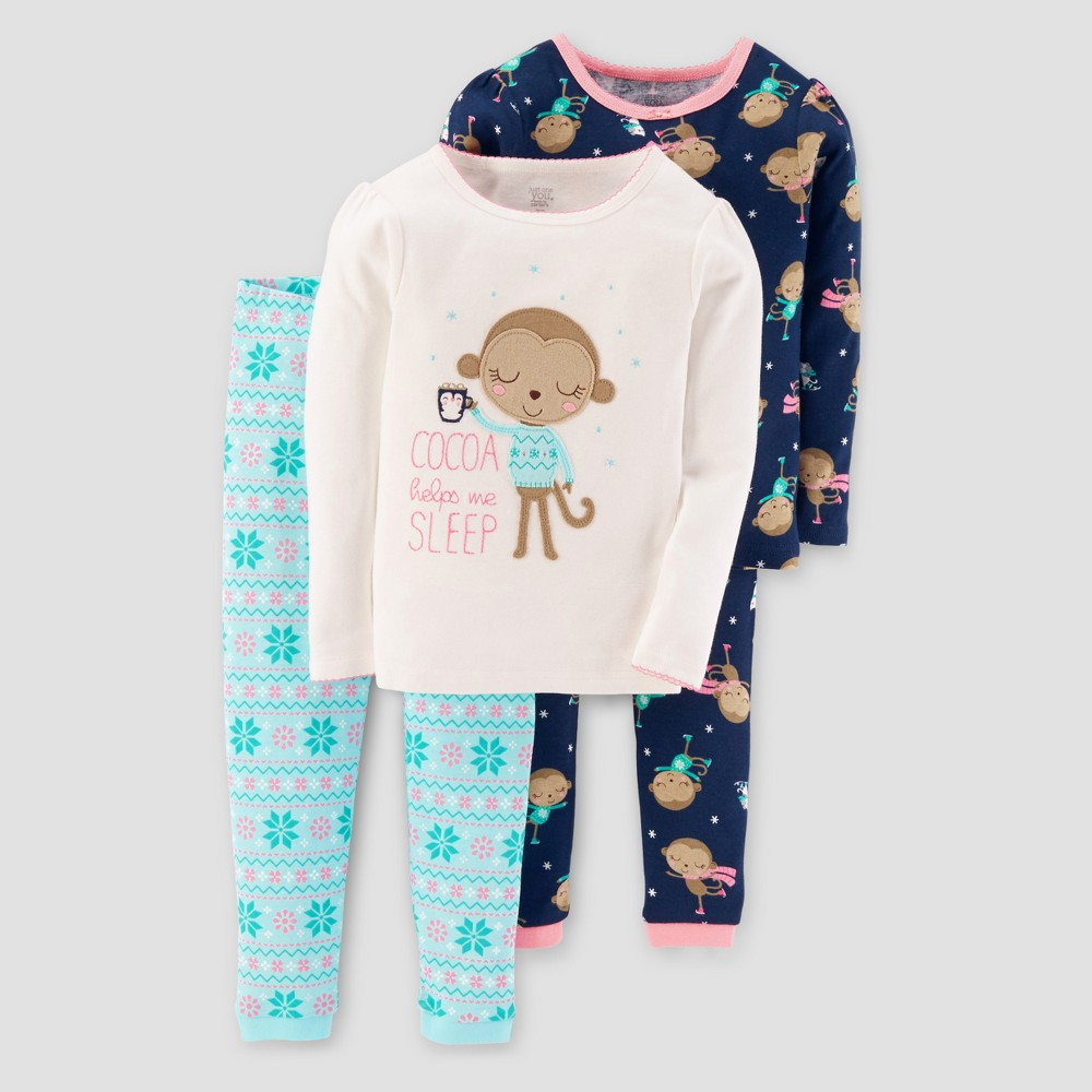 Toddler Girls 4pc Long Sleeve Cocoa Monkey Pajama Set - Just One You Made by Carters Purple 5T, White