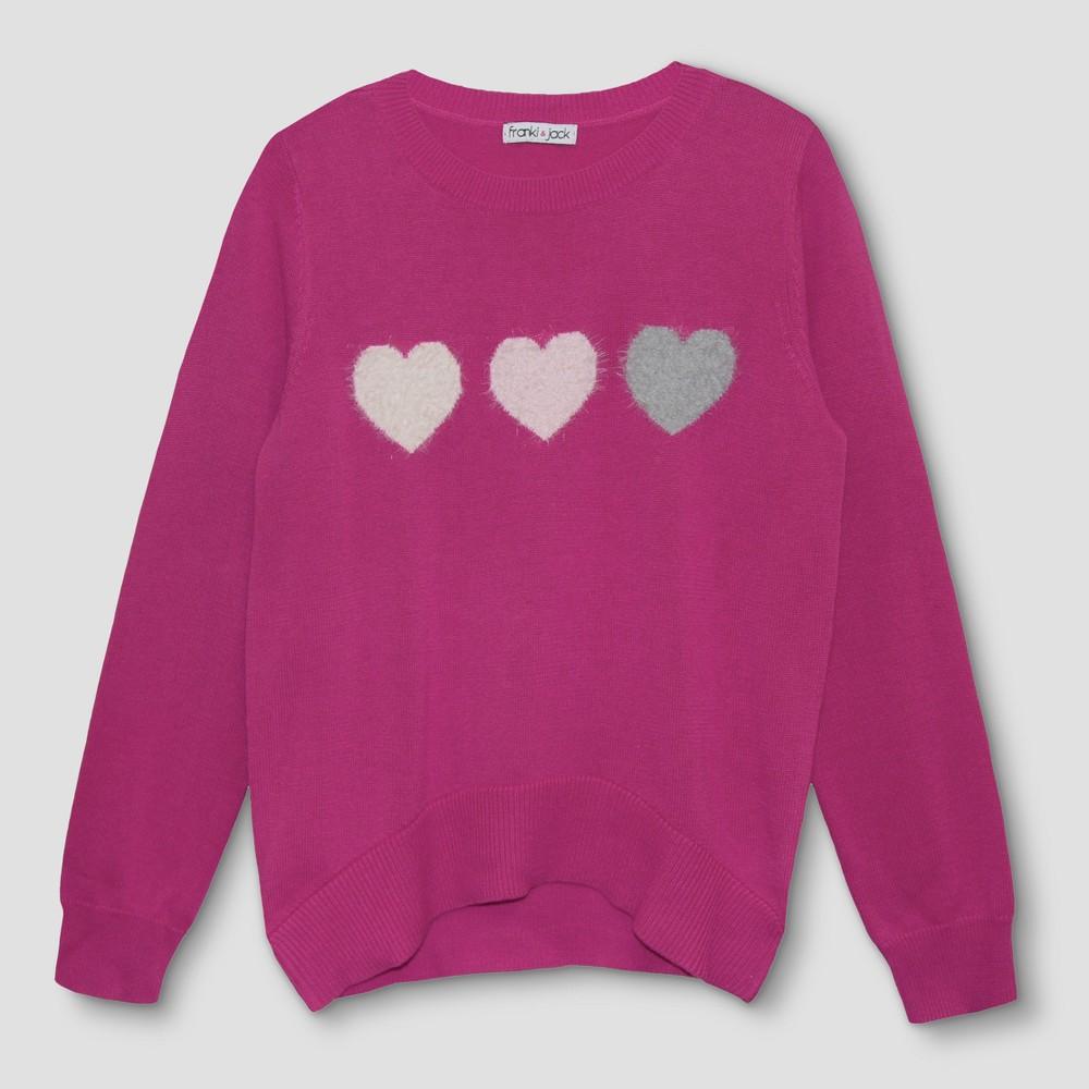 Girls Franki & Jack 3 Hearts Pullover Sweater - Fun Pink L(10-12)