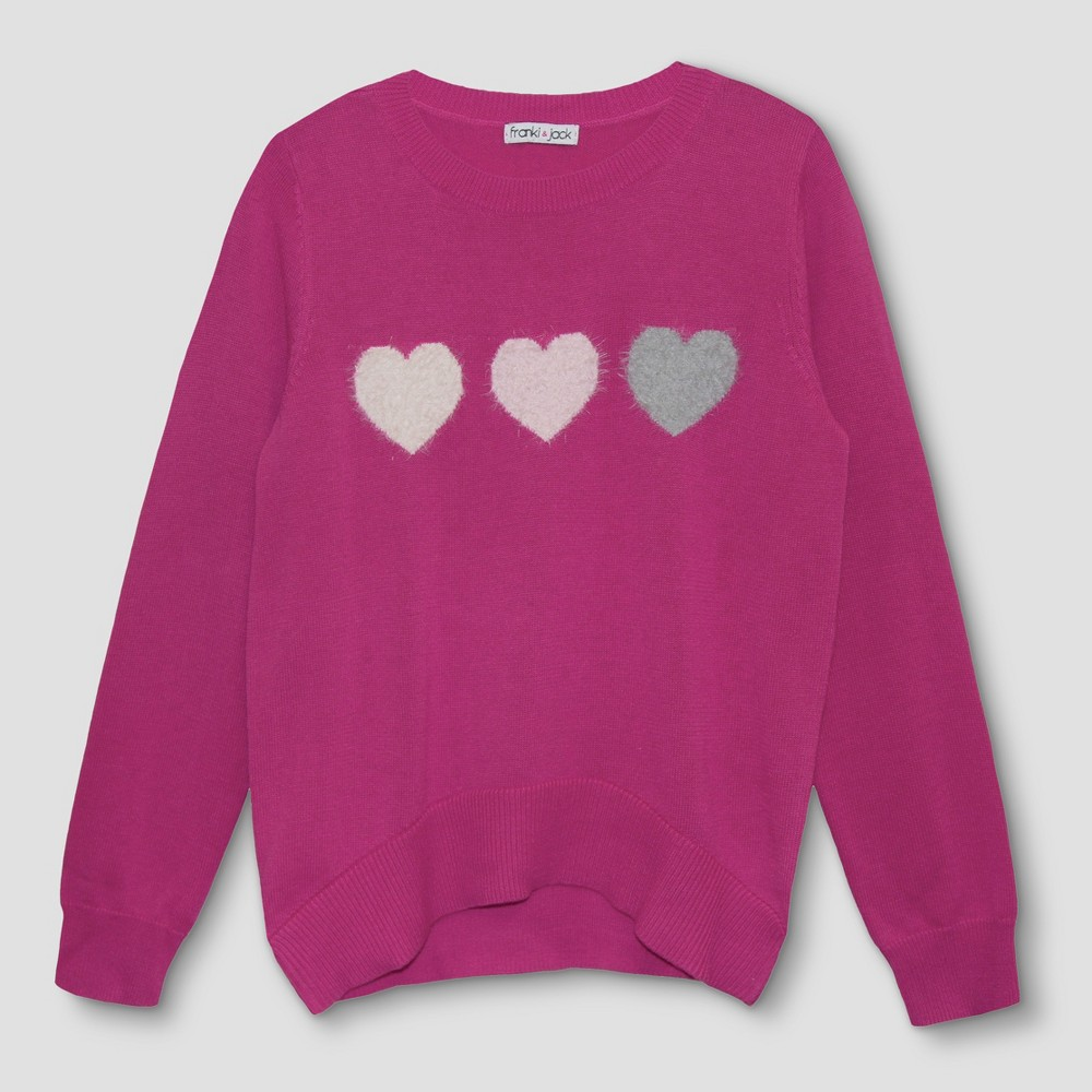 Girls Franki & Jack 3 Hearts Pullover Sweater - Fun Pink M(7-8), Size: M (7-8)