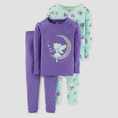 Baby Girls' 4pc Long Sleeve I'm Fairy Sleepy Pajama Set - Just One You™ Made by Carter's® Purple 12M