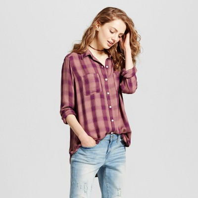 view Women's Plaid Boyfriend Button Down Shirt - Mossimo Supply Co. on target.com. Opens in a new tab.